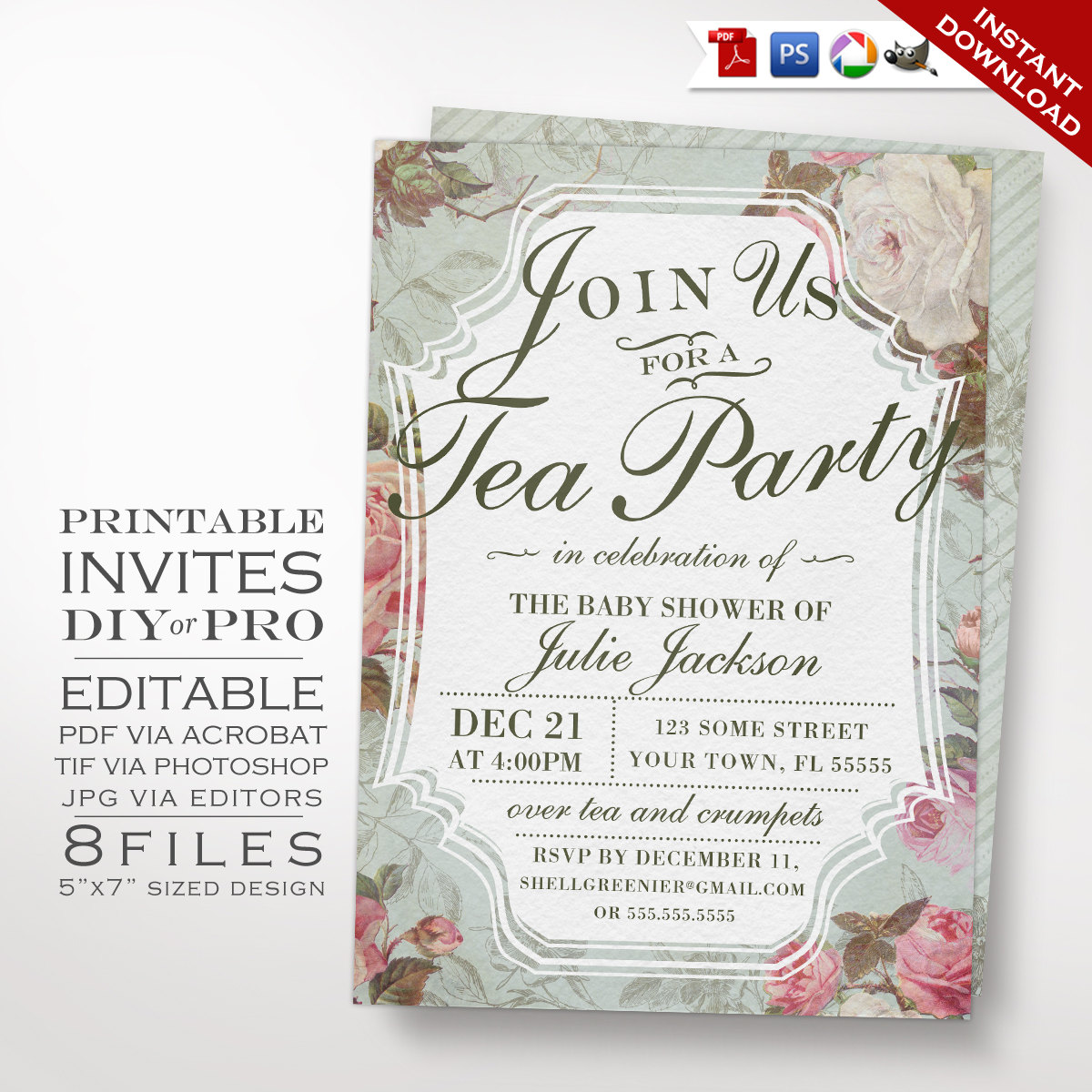 Vintage rose baby shower invitation template diy country baby shower invitation template diy country baby gender reveal tea invitation previous next solutioingenieria Gallery