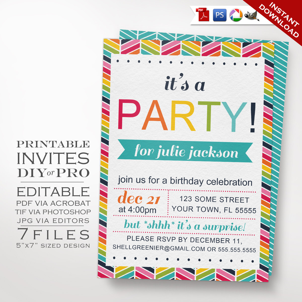 Parties DIY Rainbow Birthday Party Invitation Template Chevron Previous Next