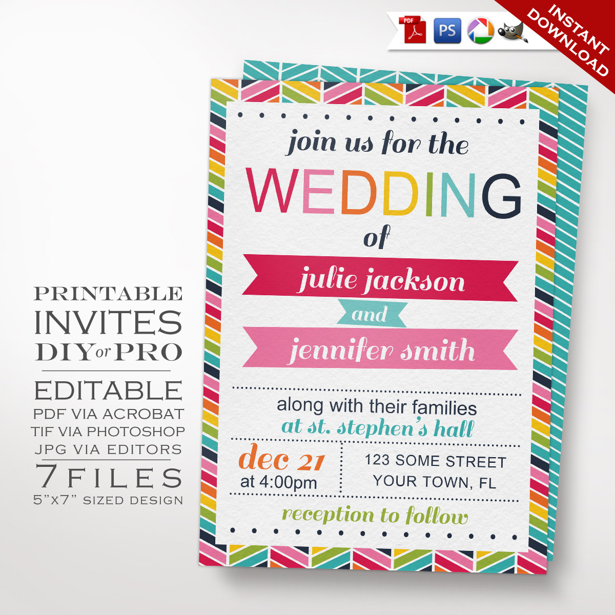 Printable DIY Rainbow Same Sex Wedding Invitation Template - Wedding invitation templates: editable wedding invitation templates