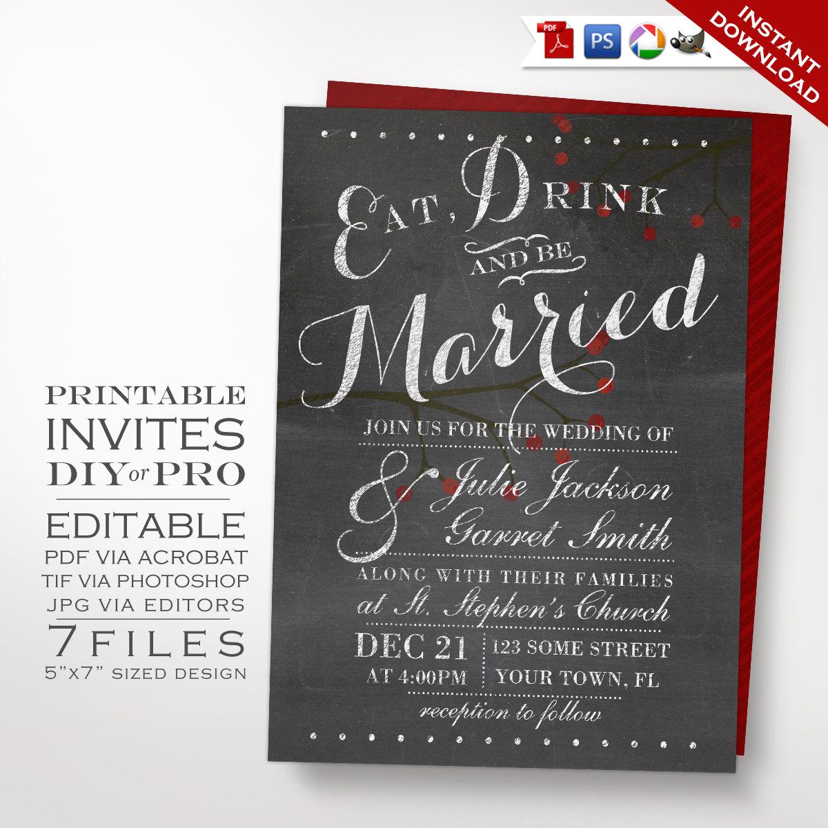 Chalkboard Wedding Invitation Template: Printable DIY Berries Chalkboard Wedding Invitation