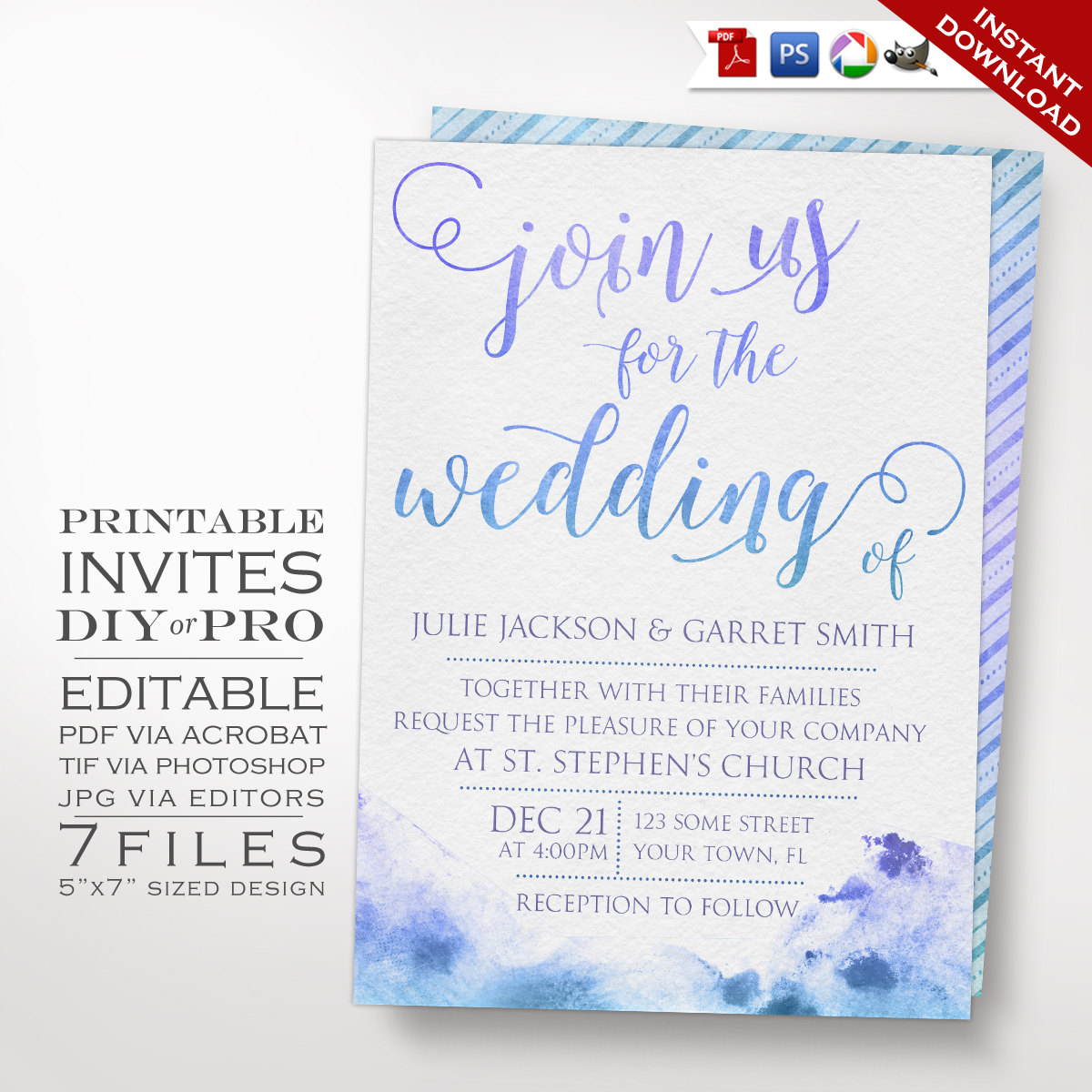 Wedding Invitation Template - Watercolor Wedding Invitation ...