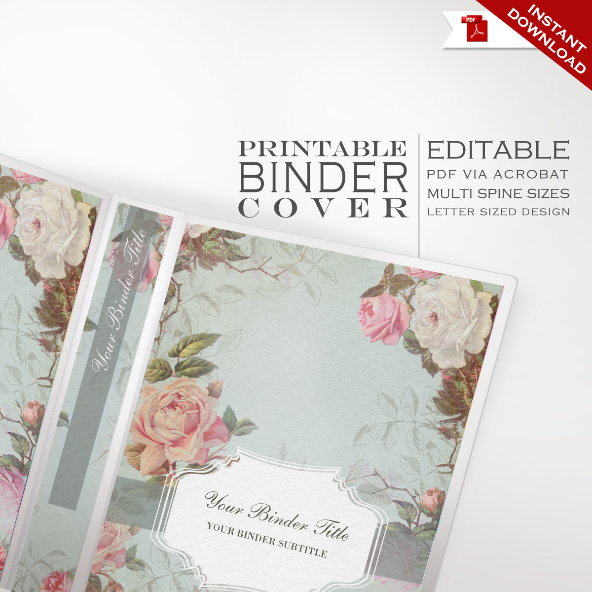 Binder cover printable editable french country vintage for Diy wedding binder templates
