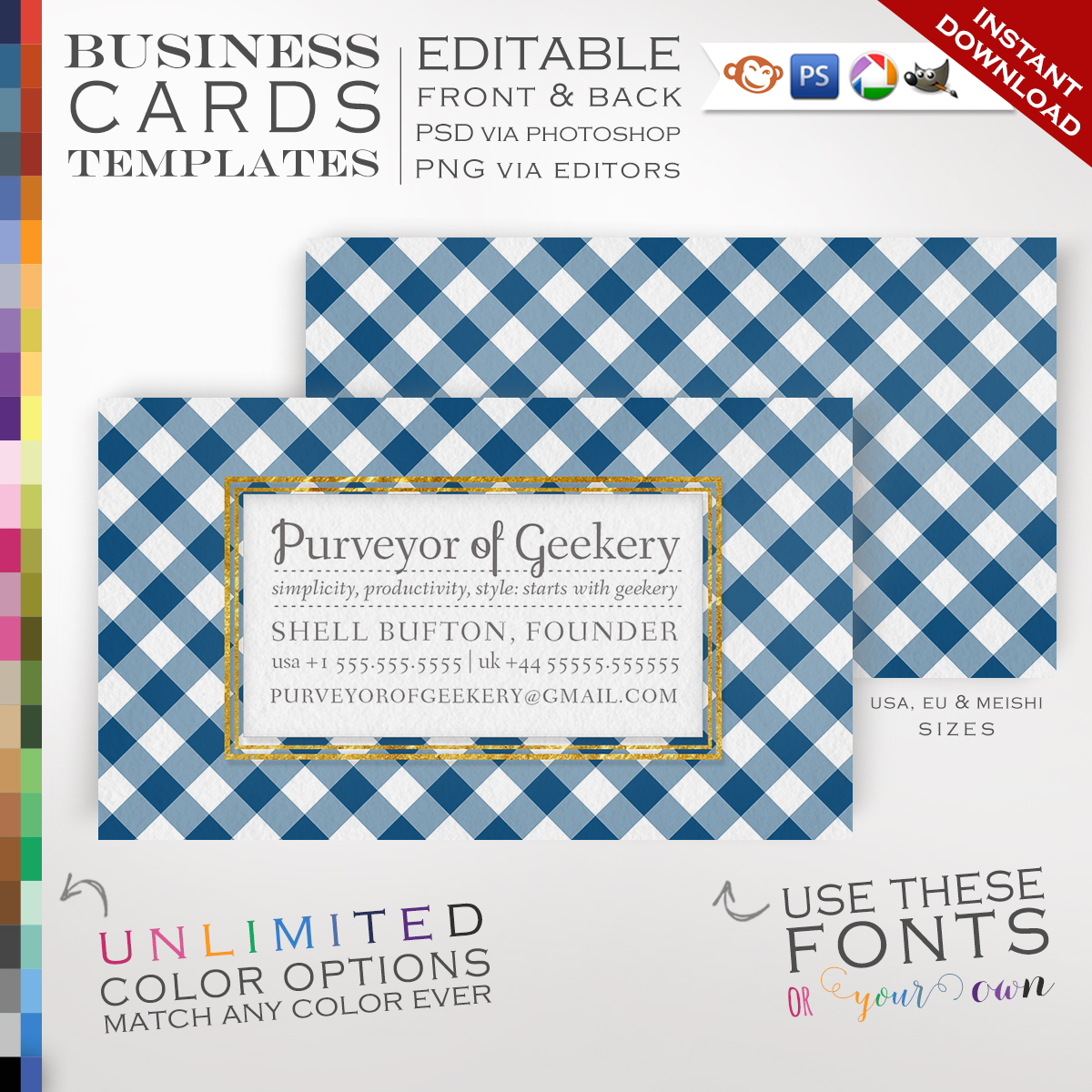 Premade Gingham Business Cards Customizable Color Foil Frame