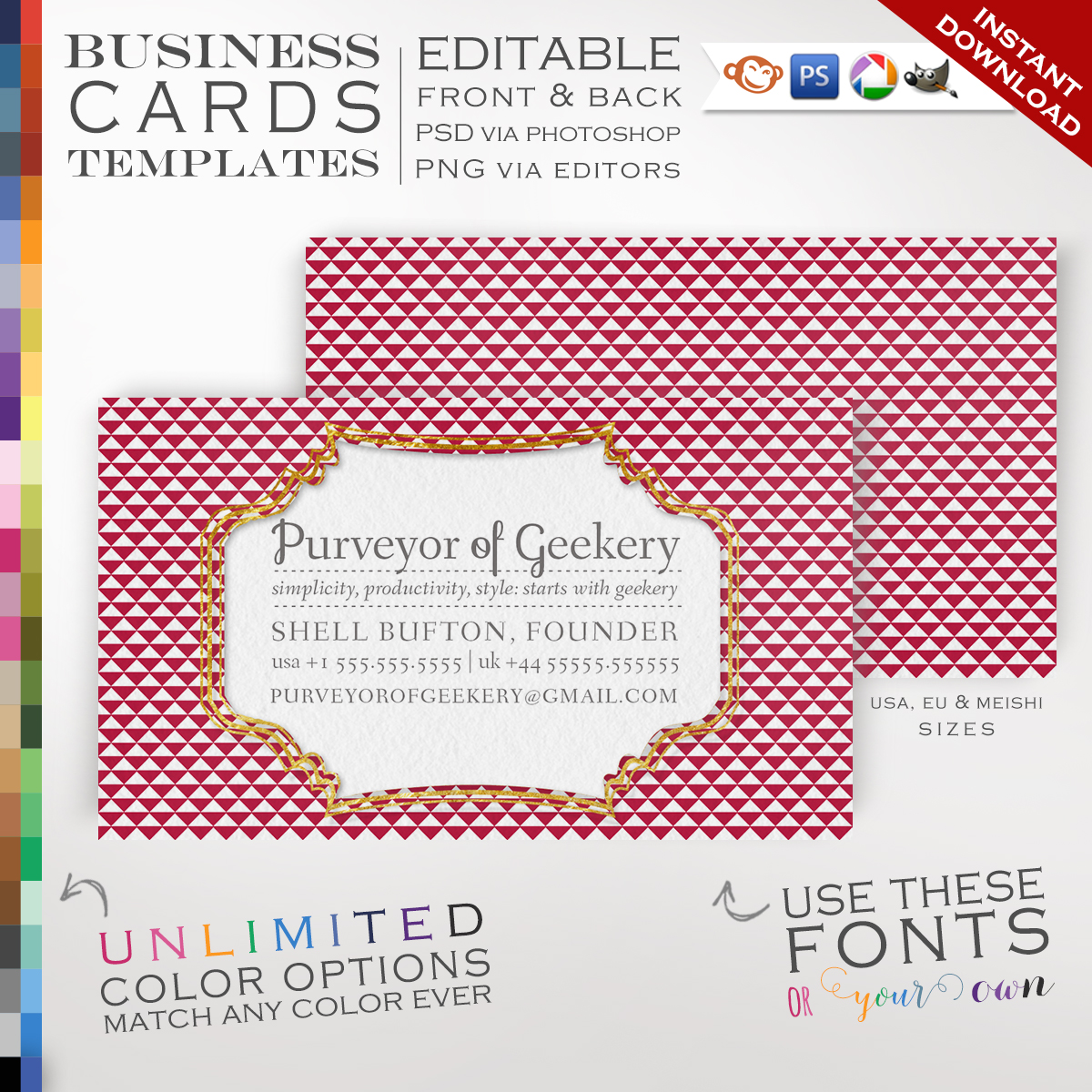 Premade Modern Triangles Business Cards - Customizable Color Foil ...