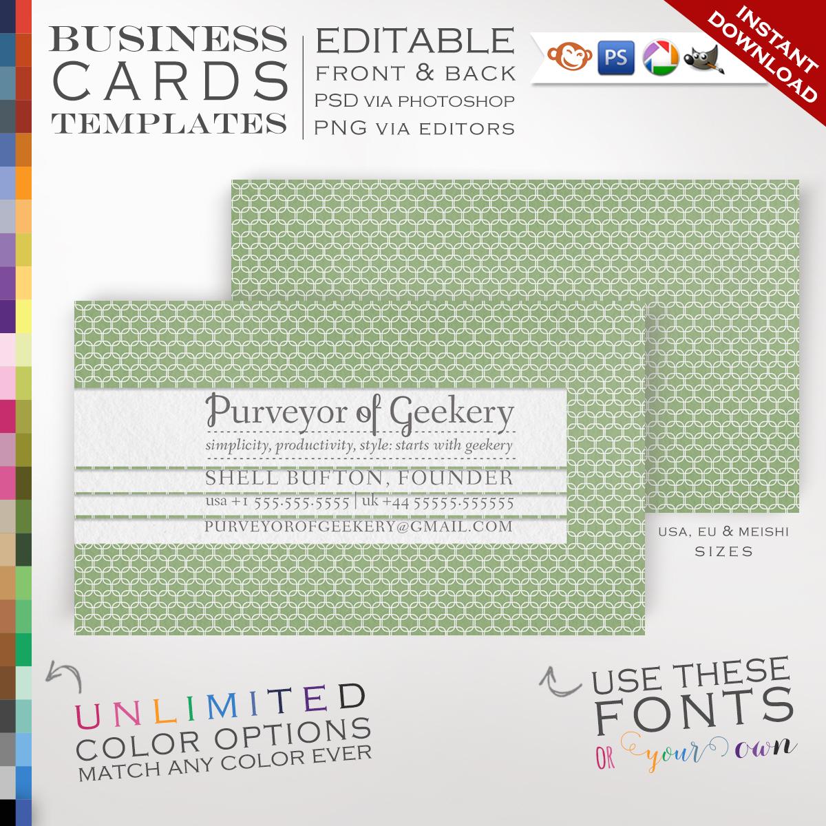 Premade Midcentury Lattice Business Cards Customizable Color
