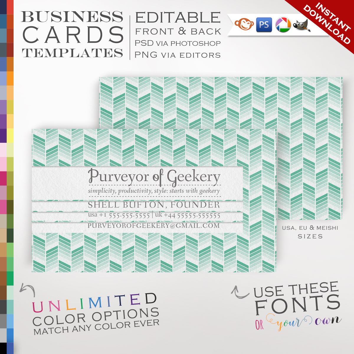 Premade Ombre Chevron Business Cards Customizable Color Cutout