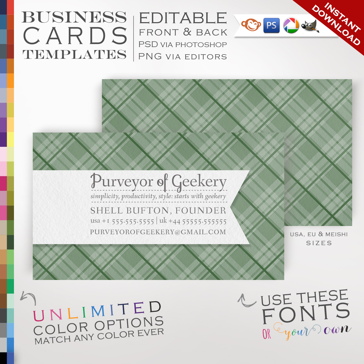 Premade plaid business cards customizable color ribbon design premade plaid business cards customizable color ribbon design double sided rbpl photoshop or free editor template faire reheart Image collections