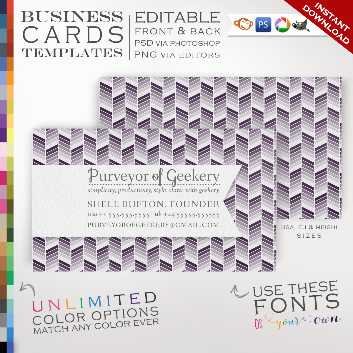 Premade Ombre Chevron Business Cards - Customizable Color Ribbon ...