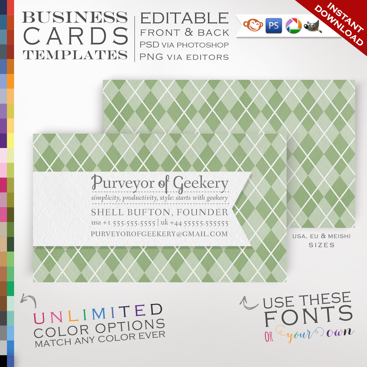 Premade argyle business cards customizable color ribbon design premade argyle business cards customizable color ribbon design double sided rbay photoshop or free editor template faire colourmoves