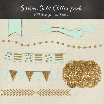 Gold and Mint Glitter Clipart Vector