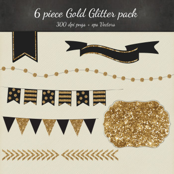 Black and Gold Glitter Vector Clipart