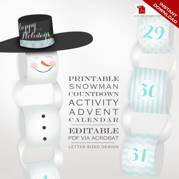 Snowman Countdown Calendar – Printable Holiday Countdown – Christmas Countdown Activity Advent Calendar Holiday Countdown Printable