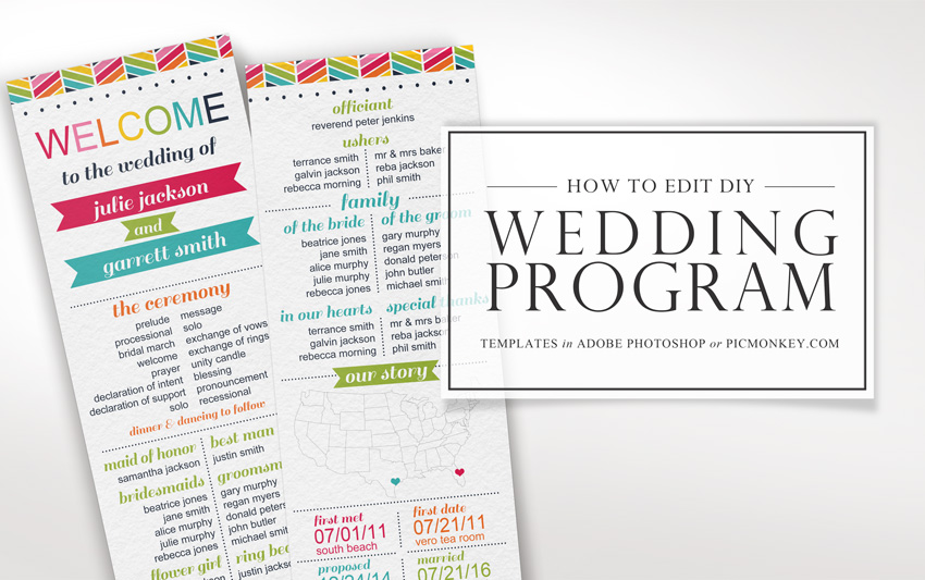 how to edit printable wedding program templates faire li