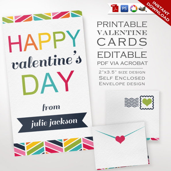Printable Class Valentines Day Cards – Bunting Valentines Cards – Kids Valentines Cards Class Valentines Day Cards Valentines Day Party Card