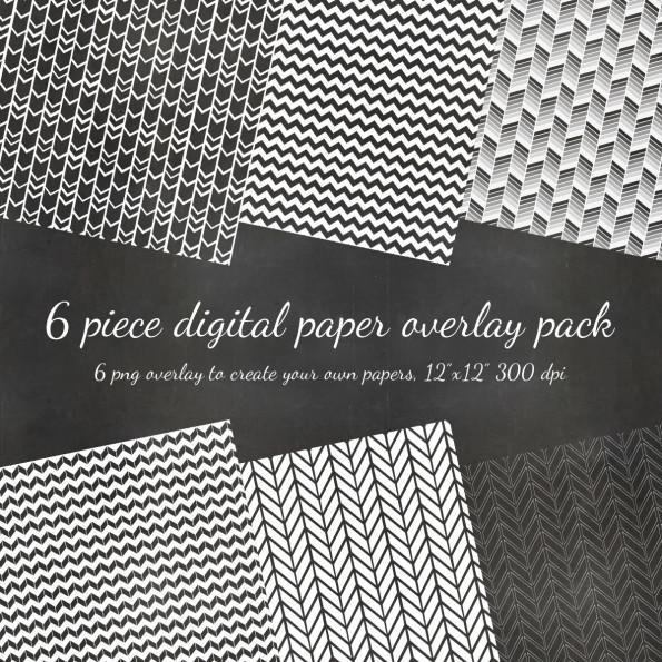 Digital Scrapbook 6 Piece Chevron Pattern DIY Paper PNG Overlay Pack – 6 Pattern Overlays to DIY – Digital Scrapbook Overlay Paper Pack