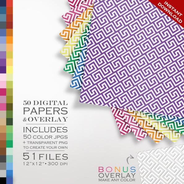 Digital Scrapbook 51 Piece Greek Key Paper Pack – 50 Colors & Overlay to DIY – Digital Scrapbook Paper Digital Paper Pack