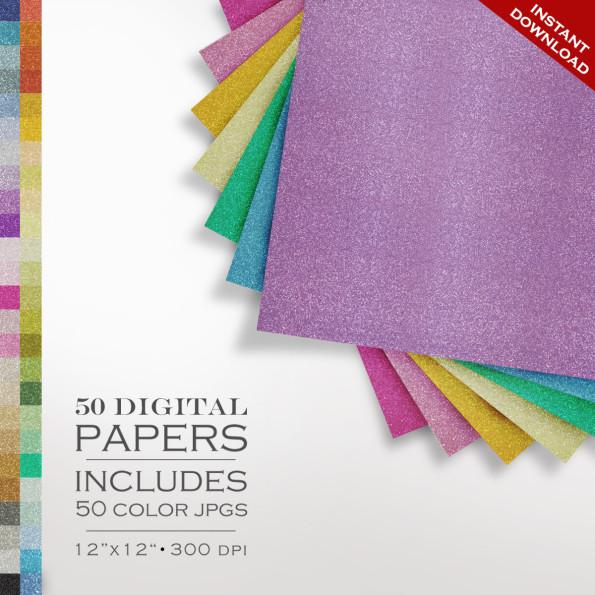 HUGE 50 Piece Glitter Digital Paper Pack – Sparkly Glitter Scrapbook Paper – Gold Silver Background Texture Pattern Scrapbook Paper