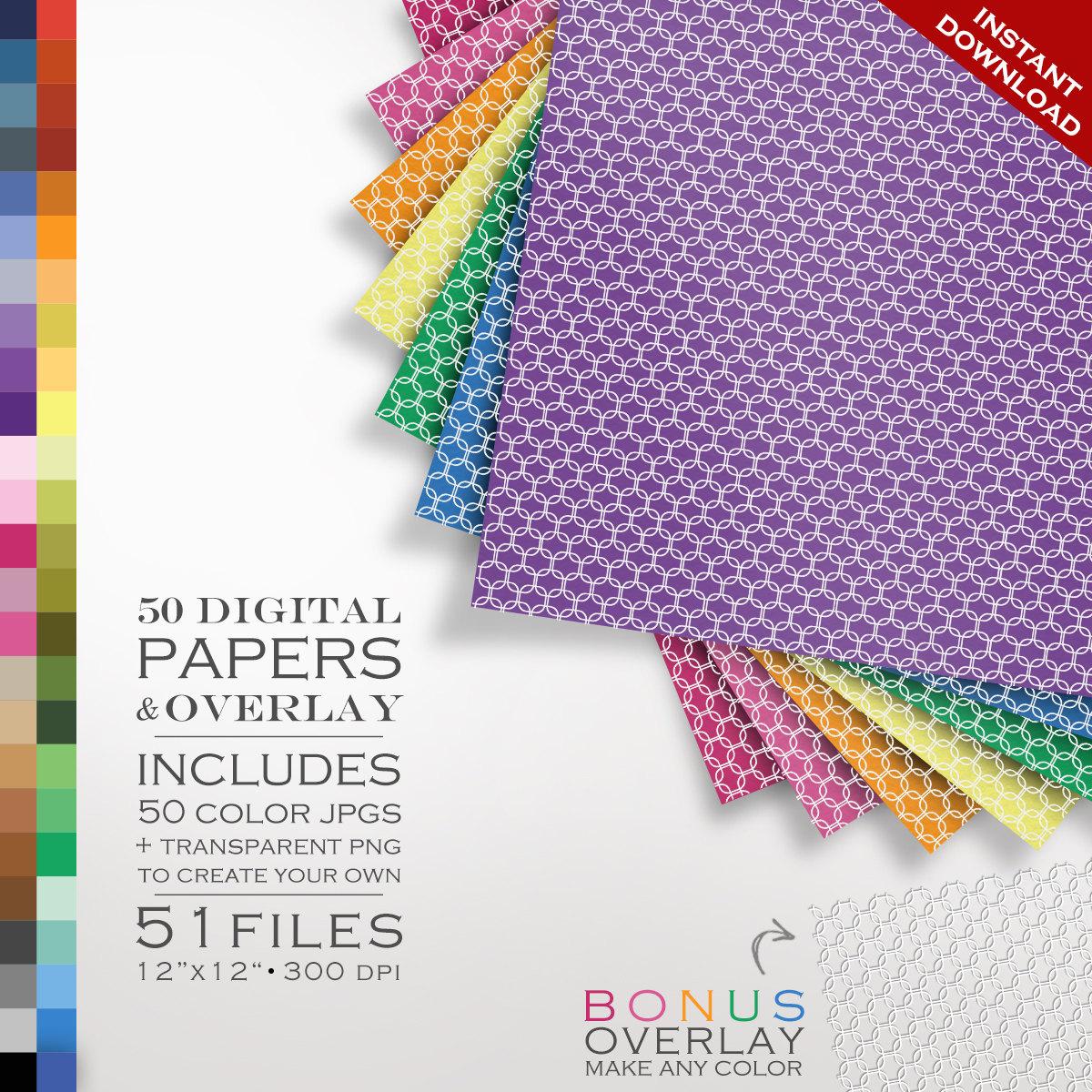 Digital Scrapbook 51 Piece Mod Lattice Paper Pack 50 Colors