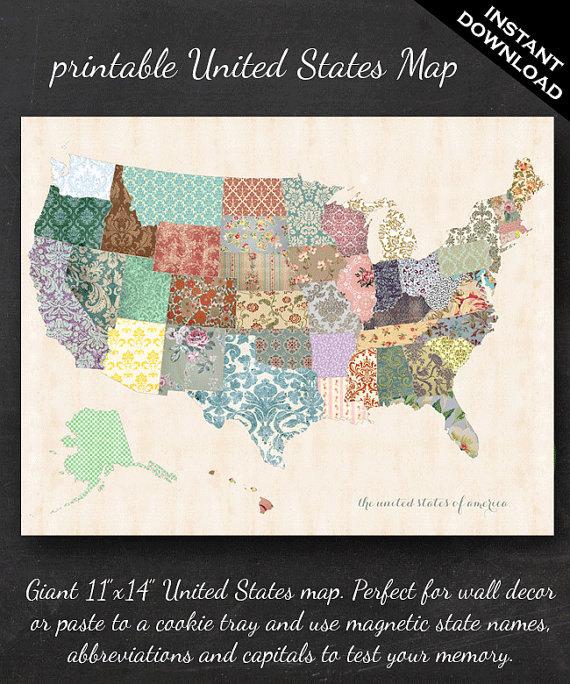 Printable United States Map – 11″ x 14″ Shabby Chic PDF – Nursery Decor Homeschool Classroom Geography