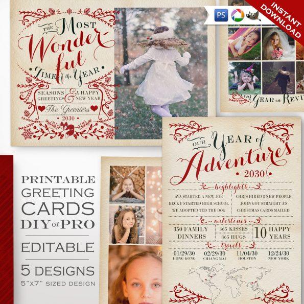 Christmas Greeting Card Photography Template Kit