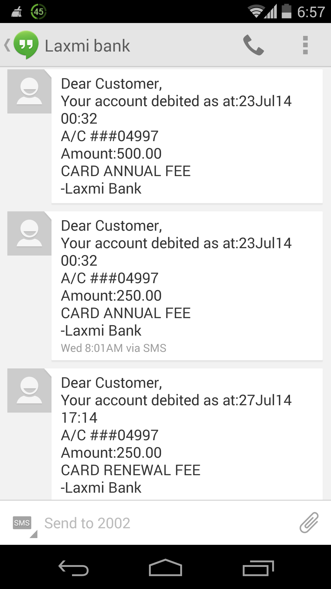 Laxmi Bank Debit card charge sums up to Rs. 1000/-