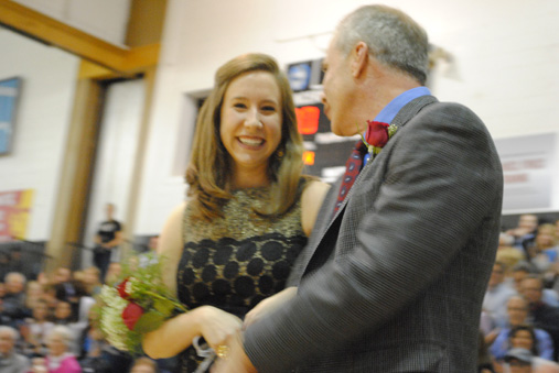Amy Cosgrove and her father the moment after she was announced as 2011 Sweetheart Queen.