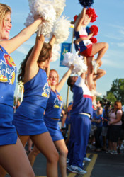 The cheerleaders and spirit squad pumped up the crowd at the KU Kickoff at Corinth Square.