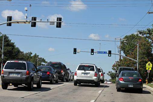 75th Street traffic light synchronization Prairie Village