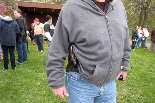 An attendee at an open-carry demonstration in Ohio in 2010. Flickr photo via user Teknorat.