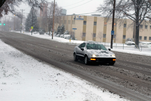 Traffic on Mission Road was light following the snowstorm.