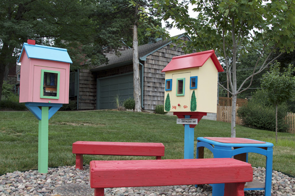 This Little Free Library on Nall uses bright colors.