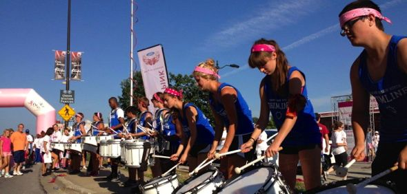 SM North drumline provides excitement at the finish line. Photo from SMSD.