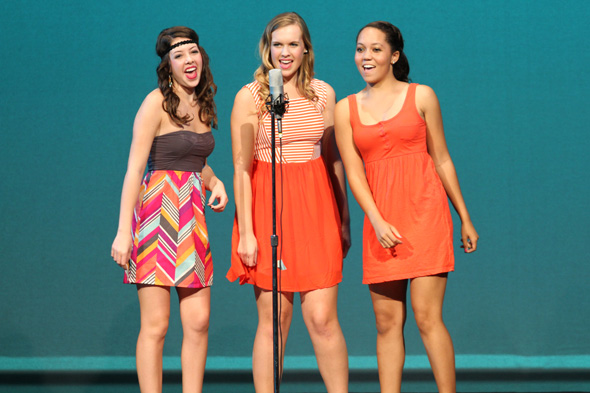 "An ensemble of eight SM East students performed ""Our Lips Are Sealed."""