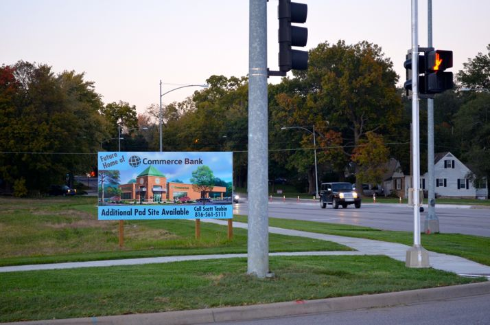 Commerce Bank has been advertising for other partners at the Johnson Drive and Roe Avenue site.