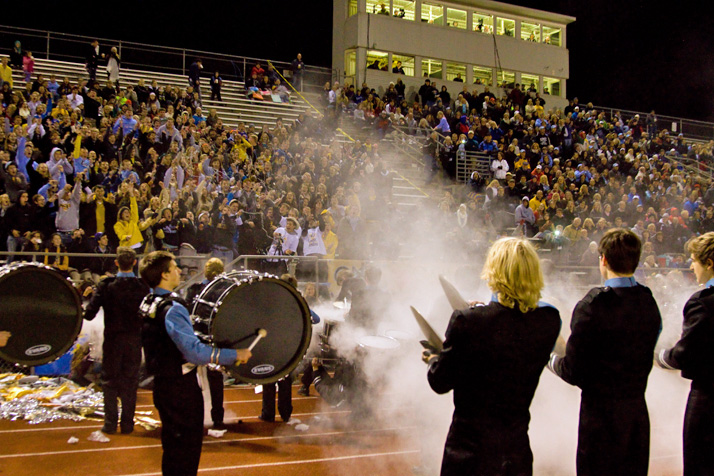 The drumline capped off its halftime theatrics with a baby powder cymbal explosion.