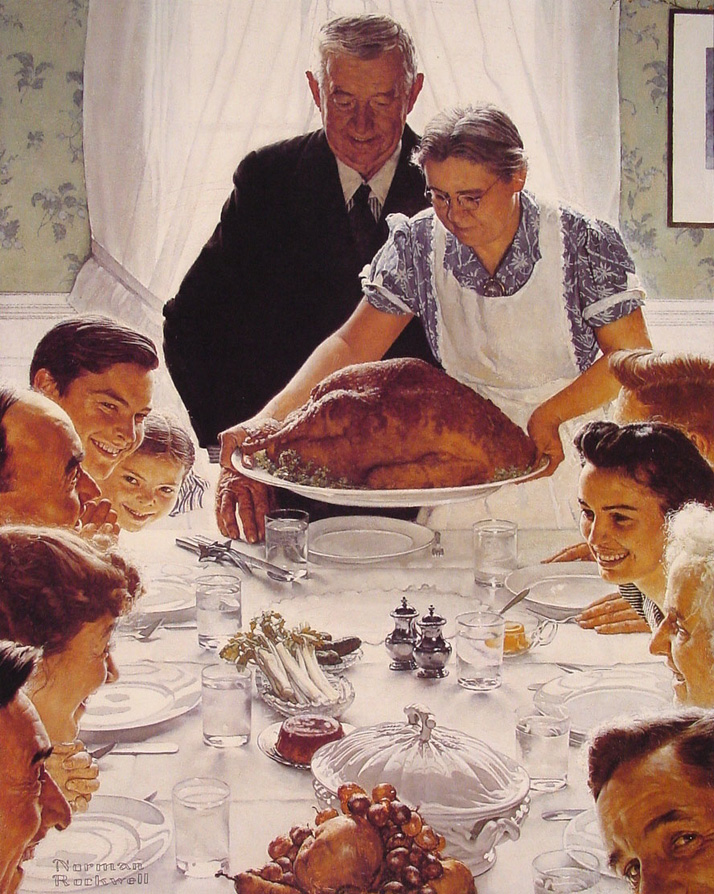 Norman-Rockwells-Thanksgiving-Meal-1943