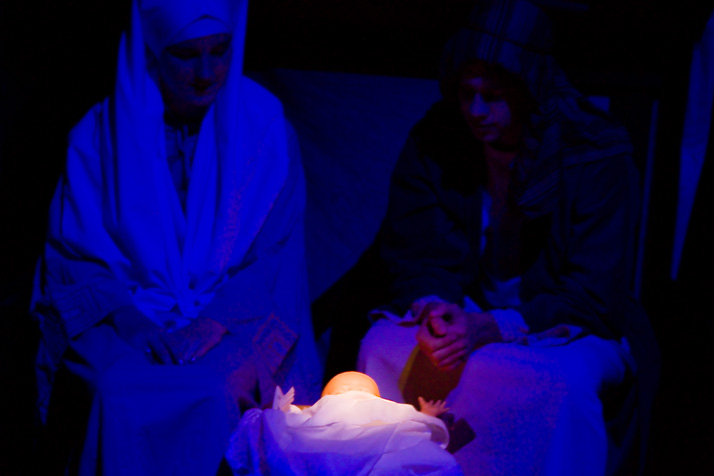 Mary and Joseph with the newborn baby Jesus.