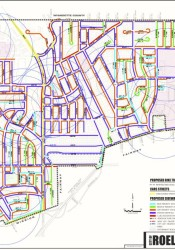 Purple on the map indicates streets that already have sidewalks in place.