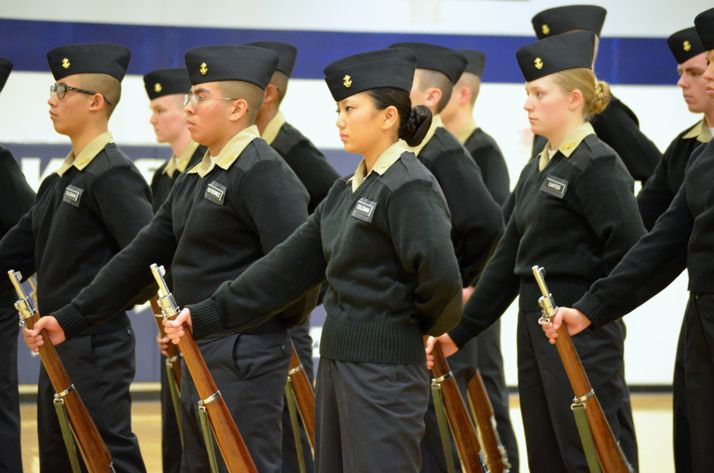 One of the SM North NJROTC drill teams performing at Lee's Summit meet.
