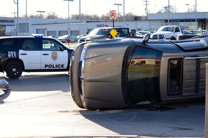 An overturned vehicle was the result of the accident at Johnson Drive and Barkley Street.