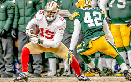 Michael Crabtree is northeast Johnson County's new favorite wide receiver. Photo via 49ers Facebook page.