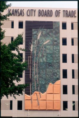 The familiar design at the Kansas City  Board of Trade  of Marquardt's replaced vines that died back in the winter. Photo by Mike Sinclair.