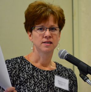 Mayor Laura McConwell speaking at the 'State of the Cities' lunch Thursday.