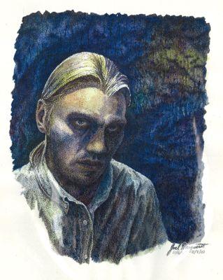 Joel Marquardt's self-portrait in water color and ink done in Katmandu.