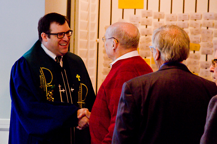 Aaron Roberts greeted members of the Colonial Church congregation after services Sunday.