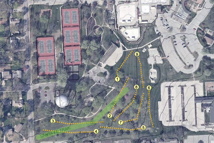 An overhead view of the proposed Harmon/Santa Fe Park disc golf course.