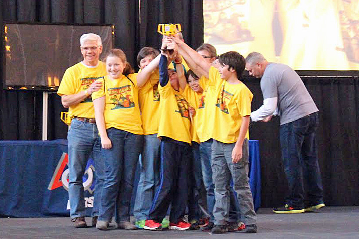 The Brickheads celebrating their win at First Lego League regionals.