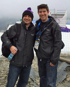Prairie Village resident Jeff Passan (right) with Yahoo! Sports colleague Martin Rogers on the slopes at the Sochi games.