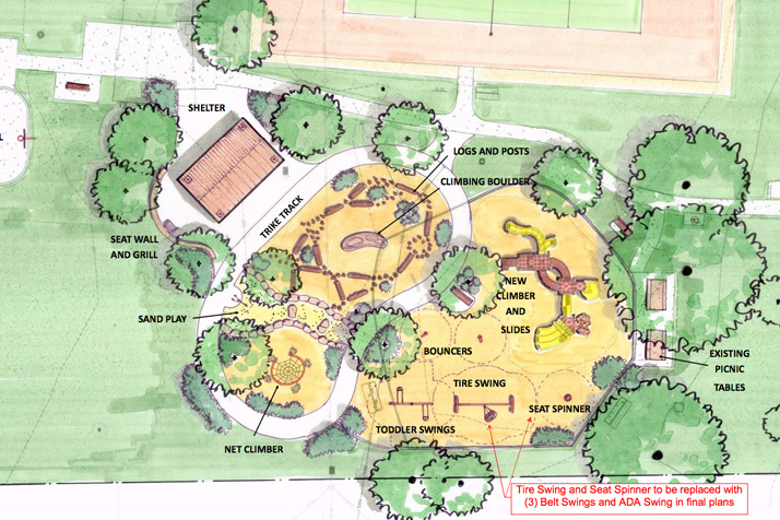 An overhead rendering of the McCrum Park proposal.