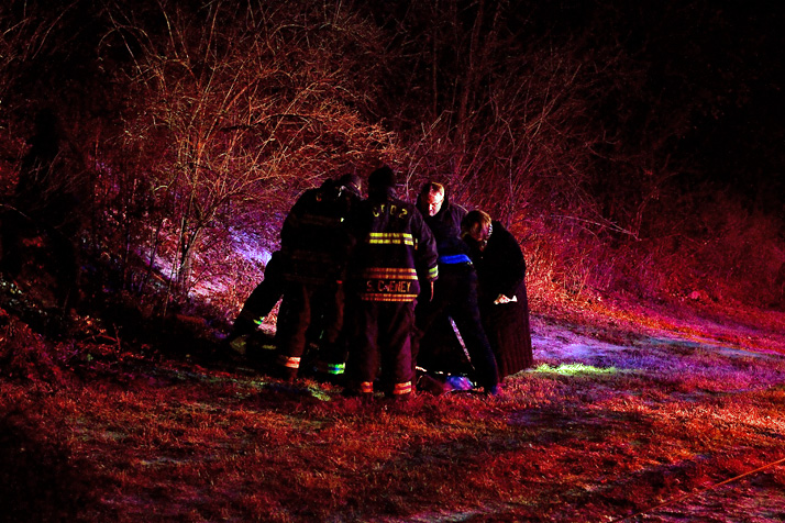 Police and emergency personnel were at the scene Sunday where a body was discovered in Roeland Park.